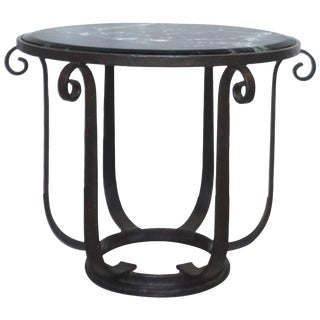 Wrought Iron Center Hall or Side Table With Verde Top For Sale