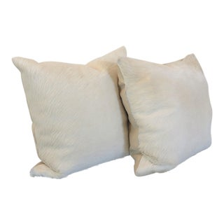 Oversized Brazilian Cowhide Pillows, Pair For Sale