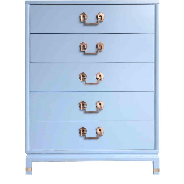 1950s Chinoiserie Landstrom Chest With Copper Hardware in Blue For Sale