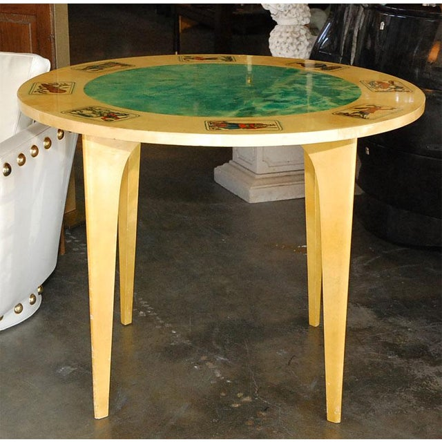 Green 1950s Aldo Tura Game Table For Sale - Image 8 of 8