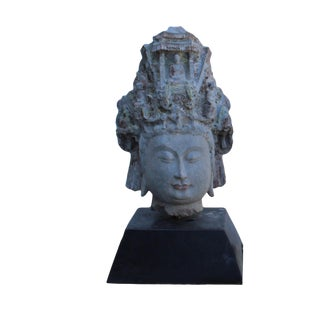 Chinese Vintage Distressed Stone Kwan Yin Tara Bodhisattva Head Statue W Base For Sale