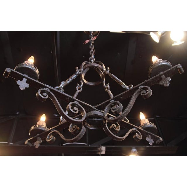 Metal 19th Century French Gothic Black Hand-Forged Wrought Iron Four-Light Chandelier For Sale - Image 7 of 10