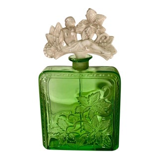 Rare Antique Art Deco Heinrich Hoffmann Green Glass Perfume Bottle Nude Stopper For Sale