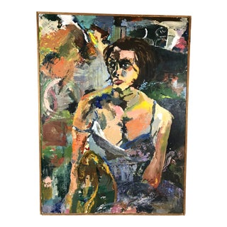 Late 20th Century Abstract Expressionist Portrait of Woman in Slip Oil on Canvas Painting For Sale