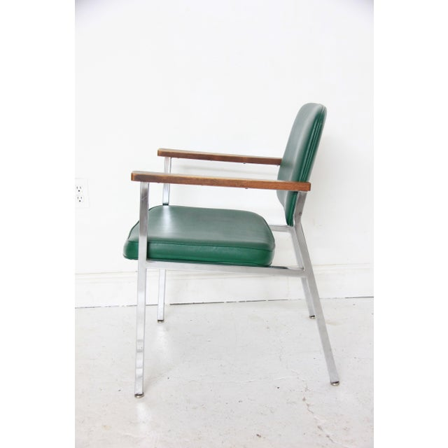 Vintage Mid-Century Industrial Green Vinyl Arm Chair - Image 6 of 6