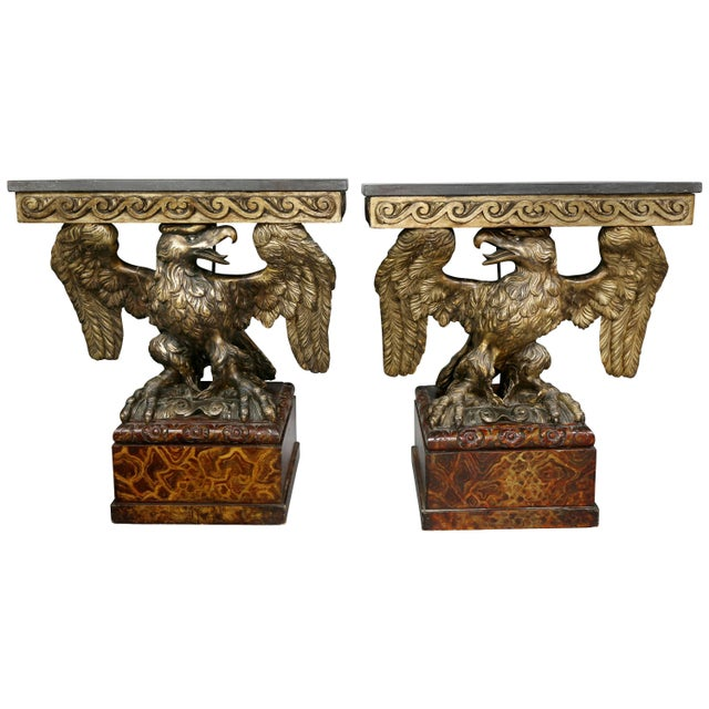 Pair of George II Style Giltwood and Grey Marble Eagle Console Tables For Sale - Image 10 of 10