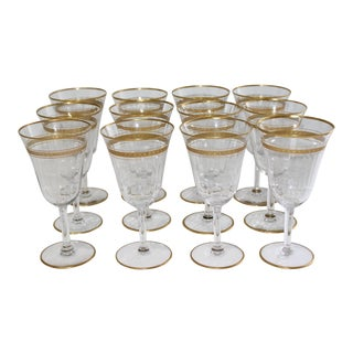 Vintage Water Goblets With Gold Band and Base Rim - Set of 12 For Sale