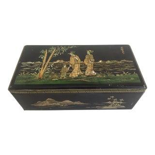 Vintage 1940's Coffret Hollandais Black Asian Style Biscuit Tin Box For Sale