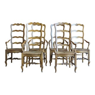 Drexel Heritage Country French Ladder Back Rush Seat Dining Chairs - Set of 6 For Sale