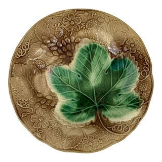 Antique Majolica Plate With Green Maple Leaf, Brown Background For Sale