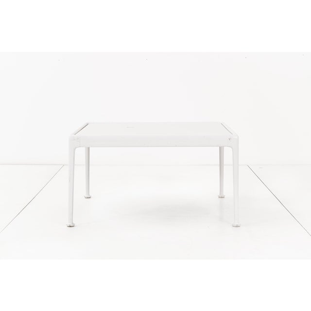 Richard Schultz outdoor coffee table for Knoll. This table has a white powder-coated cast and extruded aluminum frame with...