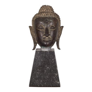 "19th C. Sukhothai Style Bronze Head of Buddha Shakyamuni on Marble Base 7"" C.1800 For Sale"