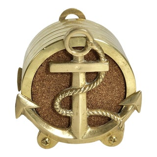 Anchors Nautical Ship Decor Brass With Cork Insert Coasters - Set of 6 For Sale