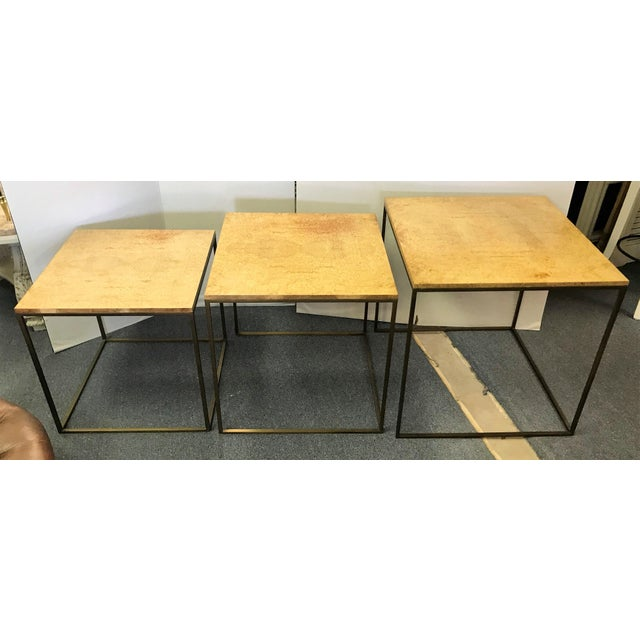 Mid 20th Century Keno Bros Burled Maple Nesting Tables - Set of 3 For Sale - Image 5 of 13