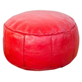 Antique Leather Moroccan Pouf - Cherry Red
