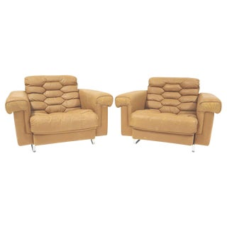 De Sede Leather Lounge Chairs- A Pair For Sale