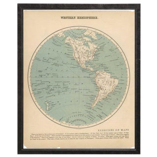 Western Hemisphere Map in Pewter Shadowbox For Sale