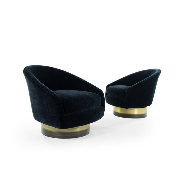 Adrian Pearsall for Craft Associates Swivel Chairs on Brass Bases - a Pair For Sale In New York - Image 6 of 12