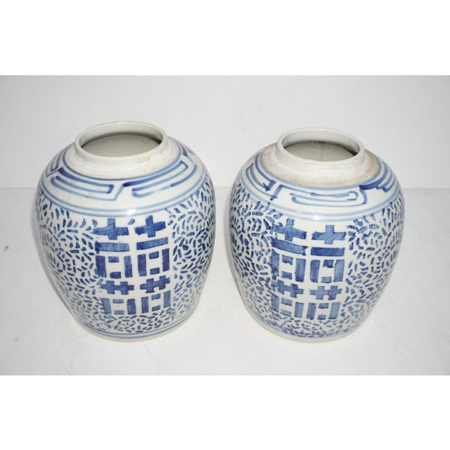Antique Kangxi Period Chinese Blue & White Porcelain Ginger Jars- a Pair || Double Ring Marked For Sale - Image 11 of 11