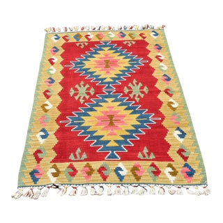 1970s Tribal Cappadocia Hand Knotted Colorful Kilim Rug For Sale