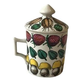 1960s Fornasetti Giostra Di Frutta Mug with Lid For Sale