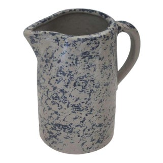19th Century Spongeware Pottery Speckled Pitcher For Sale