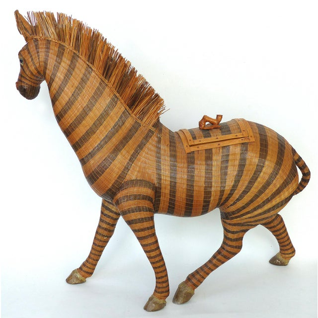 Offered for sale is an intricately woven and finely detailed figure of a zebra from China c1970. The zebra is not only a...