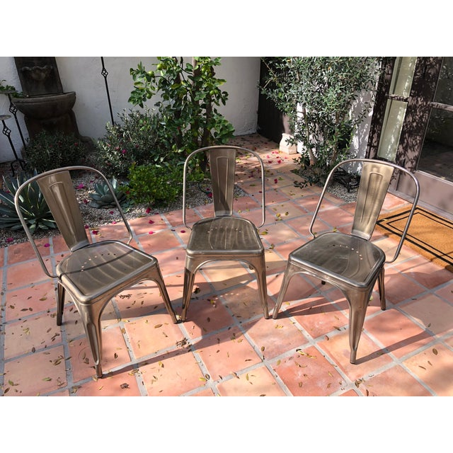 Industrial Industrial Tolix Style Marais Bistro Chairs - Set of 6 For Sale - Image 3 of 4