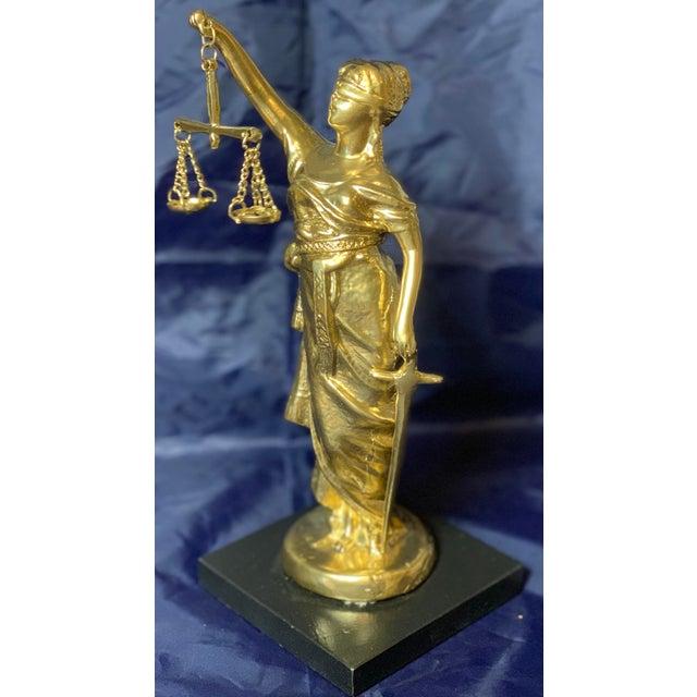 Metal Vintage Blind Justice Gold Metal Spelter Figurine For Sale - Image 7 of 13