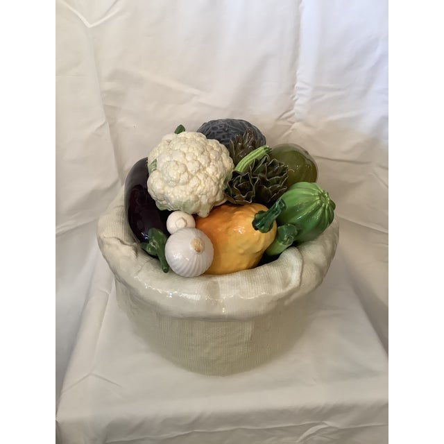 White Vintage Italian Bertinazzo Ceramic Bowl of Vegetables For Sale - Image 8 of 13
