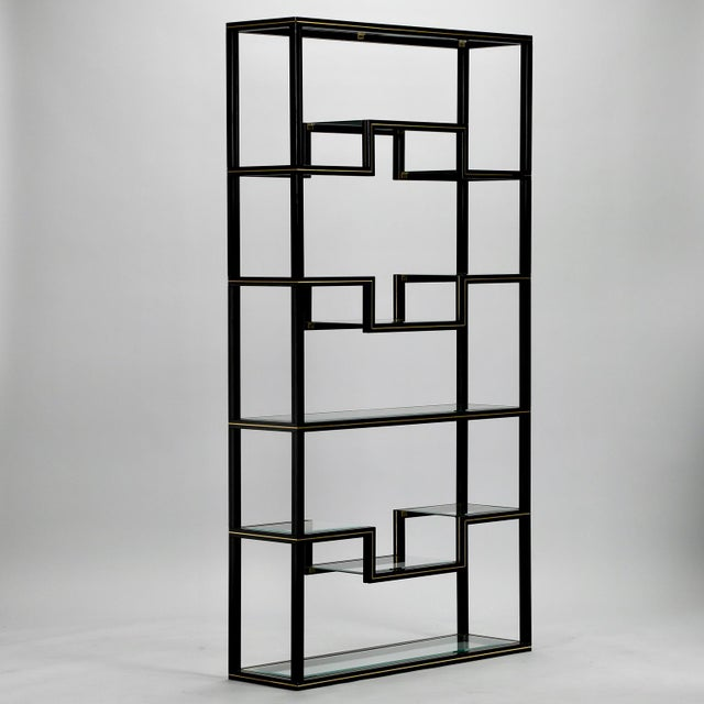 Mid Century Pierre Vandel Black Lacquer and Brass Etagere with Glass Shelves For Sale - Image 5 of 9