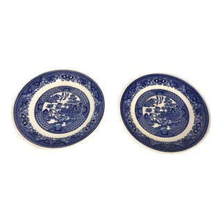 1960s Vintage Blue and White Willow Ware Royal China Plates Saucers-a Pair For Sale