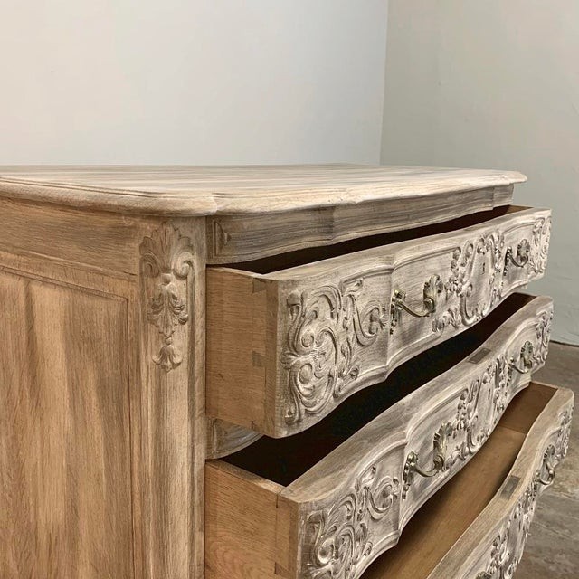 Gold Antique Country French Whitewashed Oak Commode For Sale - Image 8 of 13