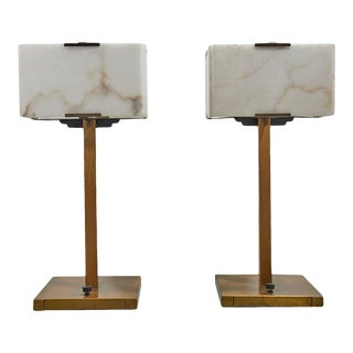 Chic Pair of Lacquered Brass and Alabaster Lamps For Sale