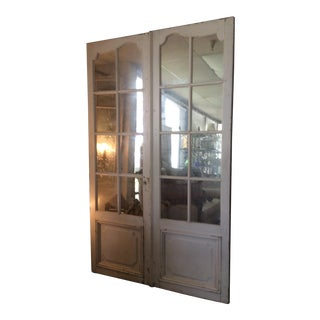 Antique Mirrored Door Set for Mercantile Display - A Pair