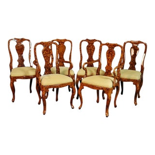 Set of 6 English Faux Tortoise Shell Decorated Georgian Style Dining Chairs For Sale