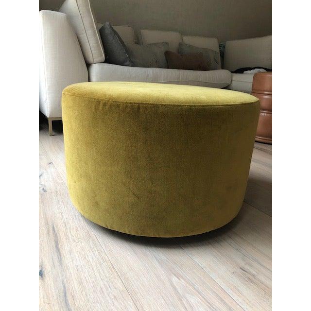 Minimalism Modern Velvet Mustard Round Ottoman For Sale - Image 3 of 3