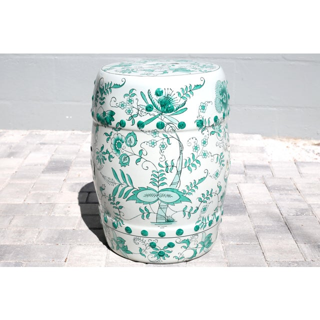 Ceramic Green and White Garden Stool Table With Hand-Painted Flowers and Vines For Sale - Image 7 of 12