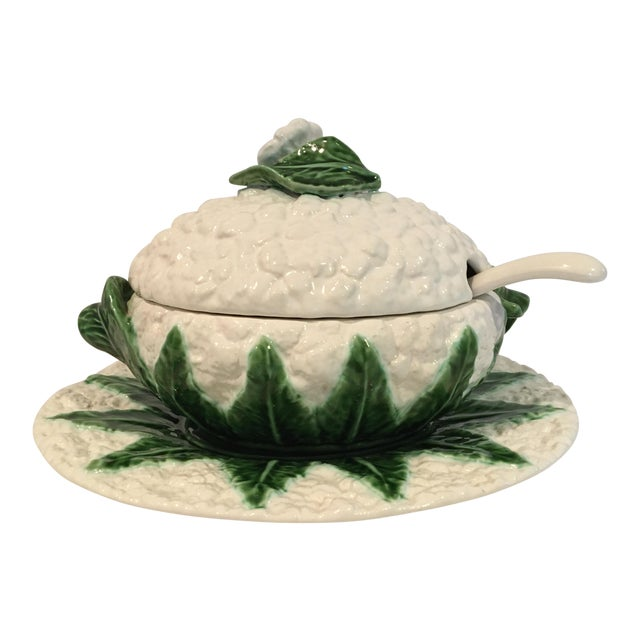 Vintage Majolica Cauliflower Tureen Made in Portugal - 4 Piece Set For Sale