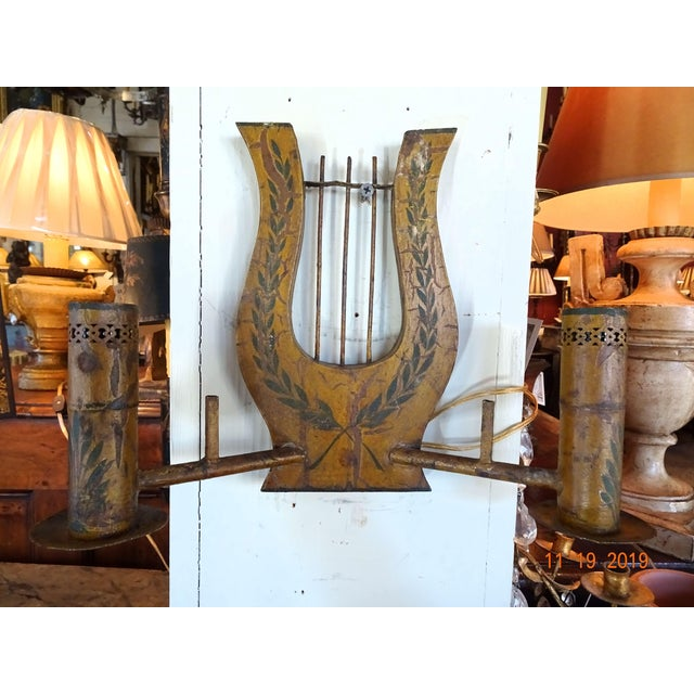 Pair of French Painted Tole Sconces For Sale - Image 12 of 13