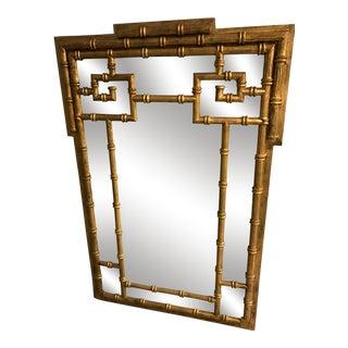 Mid-Century Labarge Faux Bamboo Greek Key Mirror