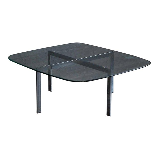 Contemporary Chrome & Glass Coffee Table For Sale