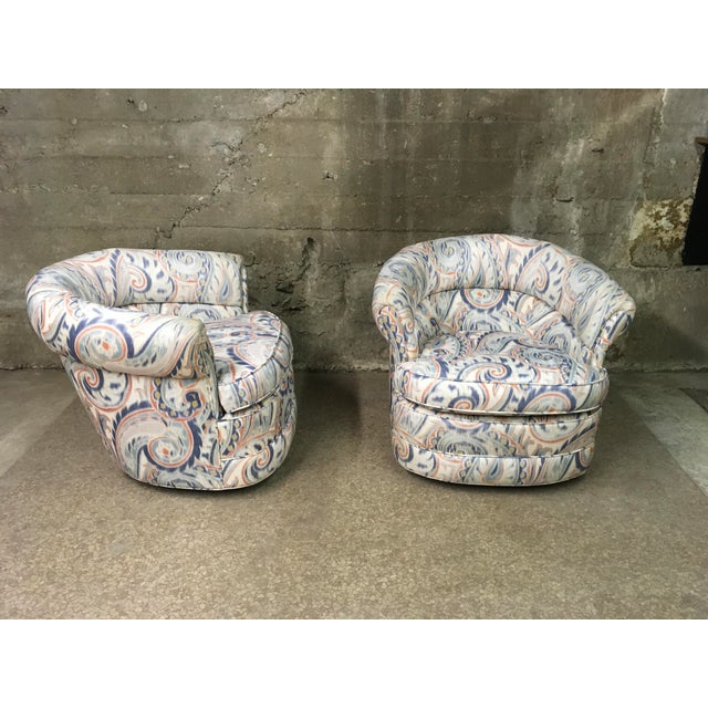 Art Deco 1990s Vintage Custom Sculptural Swivel Club Chairs- A Pair For Sale - Image 3 of 10