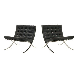 Pair of Barcelona Chairs, Early Knoll Production, Stainless and Black Leather