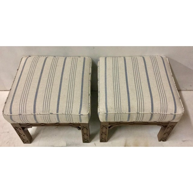 Linen Pair of Chinese Chippendale Style Ottomans For Sale - Image 7 of 8