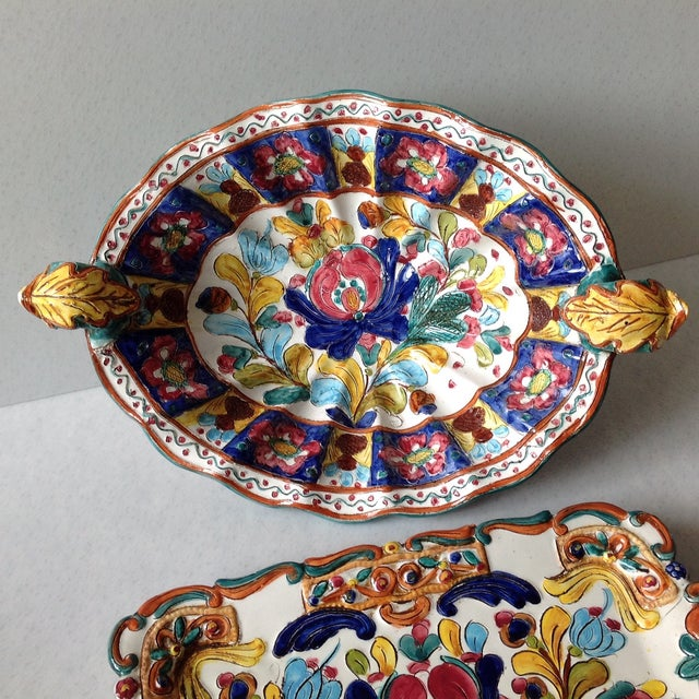 Hand-Painted Majolica Pottery Bowl & Tray - Image 7 of 11