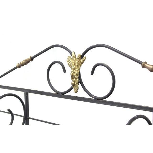 Metal Scrolls Brass Trim Design Large Extra Wide Baker's Rack For Sale - Image 4 of 5