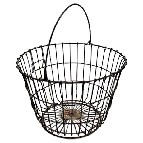 Vintage Round Wire Handle Basket - Image 1 of 4