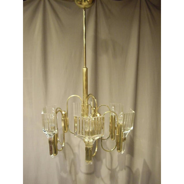 Mid-Century Modern 1960s Vintage Six-Light Glass and Brass Chandelier US Wired For Sale - Image 3 of 8