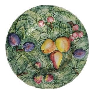 Green Embossed Italian Ceramic Fruit Platter For Sale